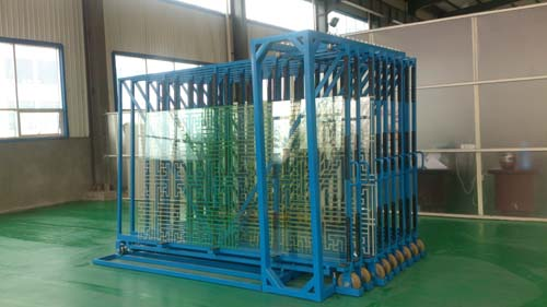 Raw glass sheet storage racks
